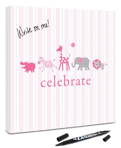 "Canvas Kudos ""Animal Parade"" Decorative Sign, 20 by 20-Inch, Pink"