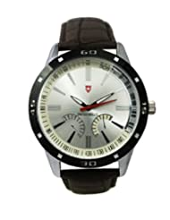 Svviss Bells Stylish Broad Silver Dial Watch for Men