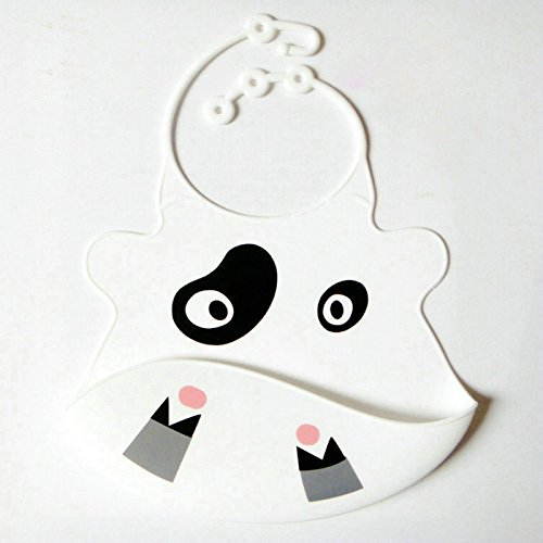 Lifemall Cute Silly Animal Face Silicone Baby Bibs Waterproof Washable Bibs (Bear-white)