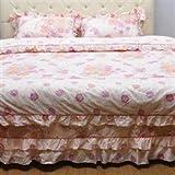 Cotton Rose Pattern Ruffles Bedding Duvet Covers