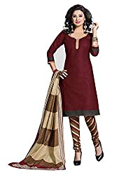 Drapes Women's Cotton Printed Unstitched Dress Material (Brown)