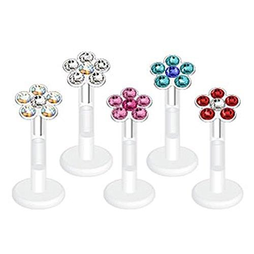 Flower Design Press-Fit Gem on Bio-Flex Shaft Labret Monroe - 16G, 5/16