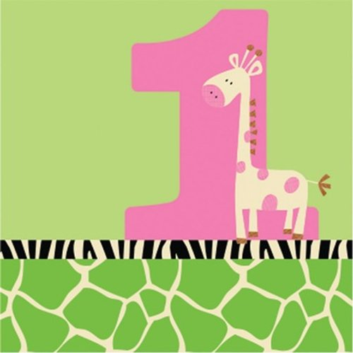 Creative Converting Wild at One Giraffe Beverage Napkins, 16 Count