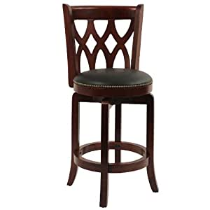 Boraam 40324 Cathedral Swivel Stool, 24-Inch, Cherry