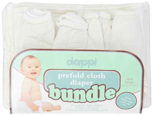 Dappi Prefold Cloth Diaper Bundle, White, Large
