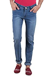 Routeen Medium Blue Low Rise Slim Fit Cotton Jeans for Men