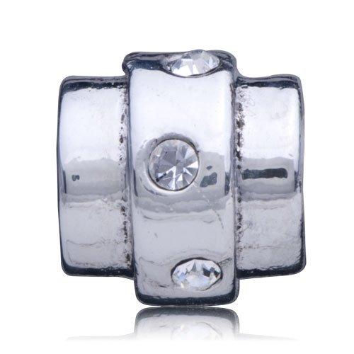 Pugster Bead Cylindrical Line Crystal Charm Bead Fit Pandora Chamilia Biagi Charm Bracelet