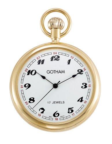 Gotham Men'S Classic Gold-Tone 17 Jewel Mechanical Pocket Watch # Gwc14048G