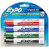 Expo Original Chisel Tip Dry Erase Markers, 4 Colored Markers (83174K)