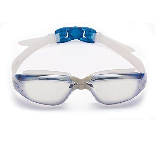Profischwimmbrille von Bezzee Pro – gespiegelte Gläser - Antibeschlagbeschichtung – Wasserdicht - Anpassbar - Schwimmbrille für Erwachsene 180 ° Weitwinkel Sicht – Für Männer Frauen Kinder Jugendliche +10 – Beinhaltet ein GRATIS Schutzetui & Ohrstöpsel