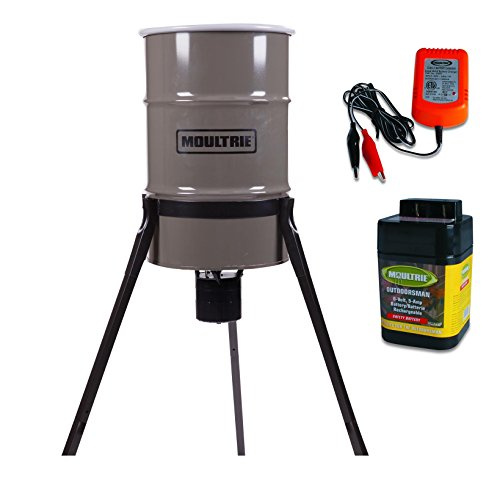 MOULTRIE 30 Gallon Pro-Hunter Metal Tripod Deer Feeder w/ 6V Battery & Charger