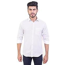 Solzo Slim Fit White Pokla Dot Print Full Sleeve Casual Shirt (40, White)