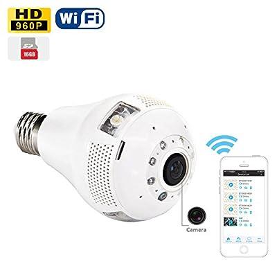 Panorama Bulb Light WiFi Spy Camera 16GB SD Card 960P Video and Audio Recording LED Light Hidden Camera Android iPhone APP Remote Surveillance HD Spy Camera