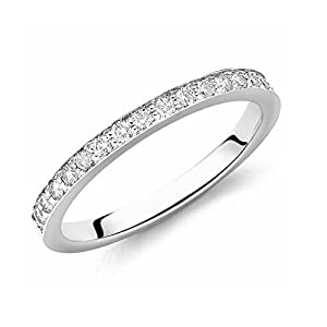 Brand New Sparkling 0.20Carat F/VS Beautiful Pave Set Full Eternity Delicate Ring,950 Platinum Size H