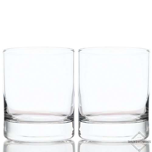 Taylor'd Milestones Scotch Glasses, Premium 10 oz Whiskey Glass is Perfect For Giving and Home Barware. Set of 2, Rocks Style Glassware is Excellent for Bourbon and Old Fashioned Cocktails Too.