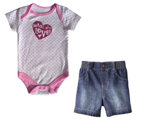 """Made With Love"" Baby-Girls Glitter Heart 6-9 Onesie & 9 Months Shorts Bundle! front-30388"
