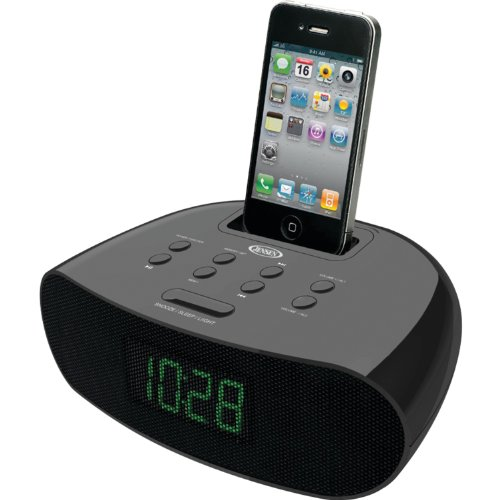 Jensen Jims70I Universal Ipod/Iphone Docking Fm Pll Stereo Clock Radio With 0.9-Inch Green Led Display, Dual Alarm And Aux Line-In