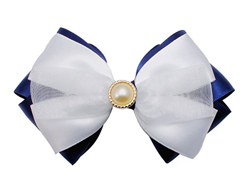 Victoria Cat Girls/ Ladies/ Bribes Saphire Blue & White Wedding Ponytail Hair Dress Bow Clip Accessory
