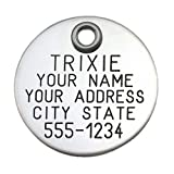 "Pet ID Tag - Stainless Steel Round - 1"" diameter - Custom engraved dog & cat ID tag. Pet safety tag has reflective coating and is great for any pet!"