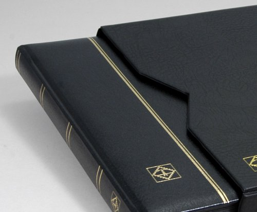 Lighthouse-32-Page-Leather-Stamp-Stockbook-with-Matching-Slipcase-Black