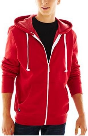 Hoodie Buddie Zip Jacket Sweatshirt Earbuds Heather Red (Xl)