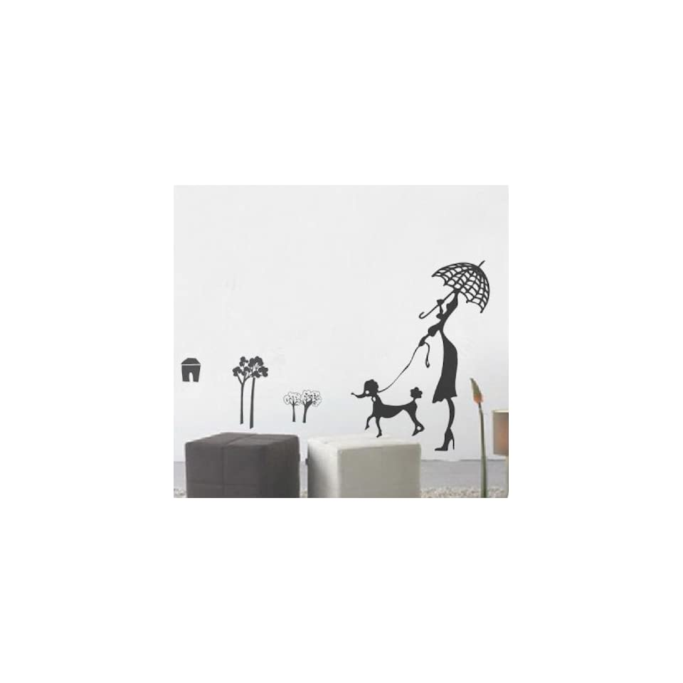 Modern House Woman and Dog removable Vinyl Mural Art Wall Sticker Wall Decal