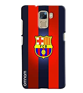 Omnam Printed Back Cover Flag FCB Red & Blue for Huawei Honor 7