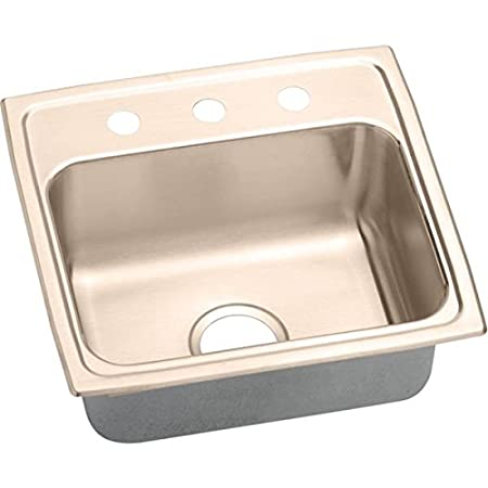 Elkao|#Elkay LR1919MR2-CU 18 Gauge Cuverro Antimicrobial copper 19.5 Inch x 19 Inch x 7.5 Inch Single-Bowl Top Mount Sink,