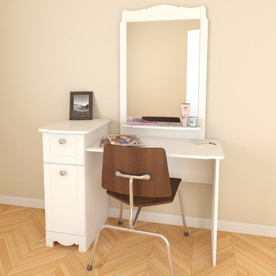Bundle-56 Dixie Vanity And Mirror Set In White Lacquer (4 Pieces) front-1077152