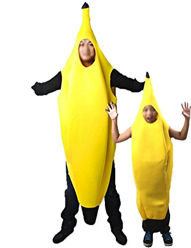 Shining Adult Boys Girls Banana Fruit Cotume Fancy Party Costume