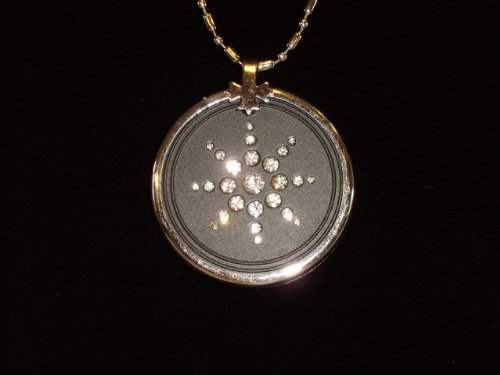 Quantum Pendant Clear Crystal Ringed 5000 Neg Ions and 2.5 K Negative Ion Card with Genuine Online Registration By EHM