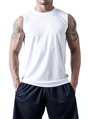 (ティーシャツドットエスティー) Tshirt.st 軽くて薄い 速乾性に優れた メンズ ノースリーブ Tシャツ ホワイト 150cm