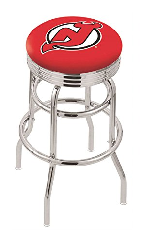 """25"""""""" L7C3C - Chrome Double Ring New Jersey Devils Swivel Bar Stool with 2.5"""""""" Ribbed Accent Ring-By BlueTECH"""
