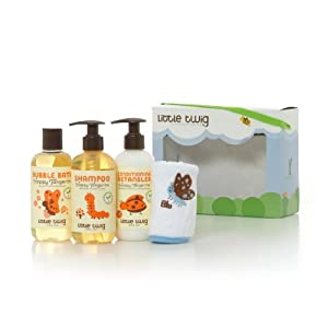 Little Twig Bath Time Basics 4 Piece Gift Set, Happy Tangerine, 8.5 Ounce