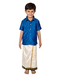 Thangamagan Boy's Shirt/Dhoty Regular Fit (Blue,Age : 9 to 10 Years)