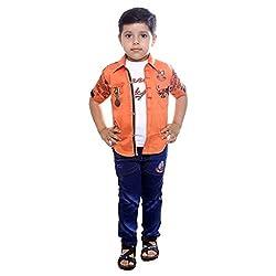 Colors Kids Shirt Tshirt Pant Set For Boys(1 - 2 Yrs) Orange