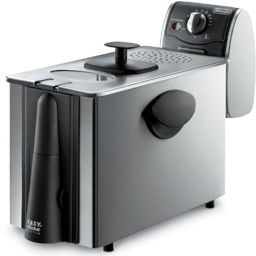 """Delonghi Stainless Steel Deep Fryer, Large 3 Lb Food Capacity, With Brushed Stainless Steel Housing, And Adjustable Temperature And Indicator Light, Features """"Cool Zone"""" Eliminating Odors And Smells, Has Windowed Lid And Cool Touch Handles Includes A Safe"""