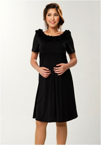 Women's Lauren Kiyomi Short Sleeve Detail Neckline Dress (Maternity)