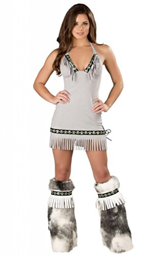 Sexy Ice Eskimo Faux Suede Fringe Dress Halloween Costume