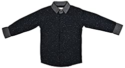 Zedd Boys' Cotton Shirt (E-C Zks1054C_18, Black, 18)