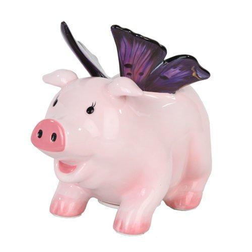 """PTC StealStreet 9878 Ceramic Butterfly Pig Savings Piggy/Coin/Money Bank, 6.50"""""""
