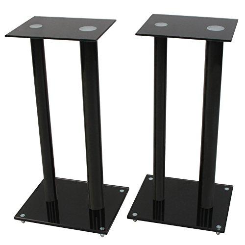 Jago - Supports noirs pour haut-parleurs - pieds d'enceintes vissables - L/l/H : env. 30/25/61 cm