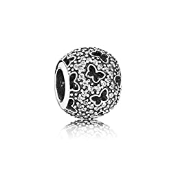 Pandora Abstract Micro Pave with Cubic Zirconia and Cut-out Butterflies Charm in 925 Sterling Silver, 791482CZ