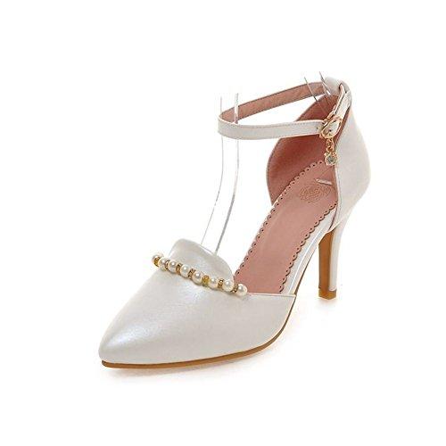 Tacco alto di perle/Scarpe a spillo a punta/Hollow fibbia sexy scarpe da donna-A Lunghezza piede=22.8CM(9Inch)