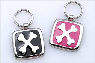 Pet ID Tag - Crossed Bones - Custom engraved cat and dog ID tags. Jewelry that ensures pet safety. Available in 10 colors and 2 sizes.