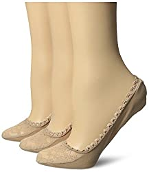 Via Spiga Women's 3 Pack Lace Shoe Liner No-Show Sock, Nude, One Size