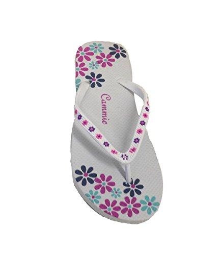 Women Beach Flip Flop Thong Sandal With Flower Pattern Straps White_6