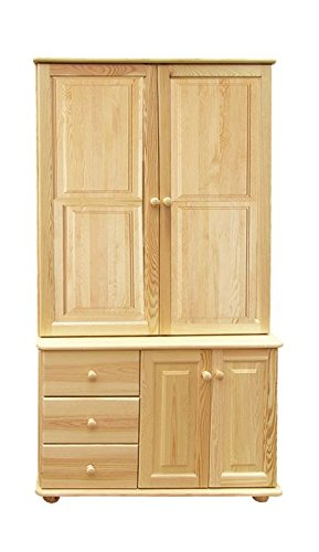 Storage Cabinet Junco 38, solid pine, clearly varnished - H195 x W102 x D42 cm