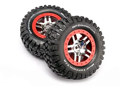 Traxxas 6873A B.F. Goodrich KM2 Tires on Red Short Course Wheels, Slash 4X4