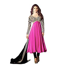 Traditional 2 Trendy Womens Satin Anarkali Dress Material (Hpc5029 -Multi-Coloured -Free Size)